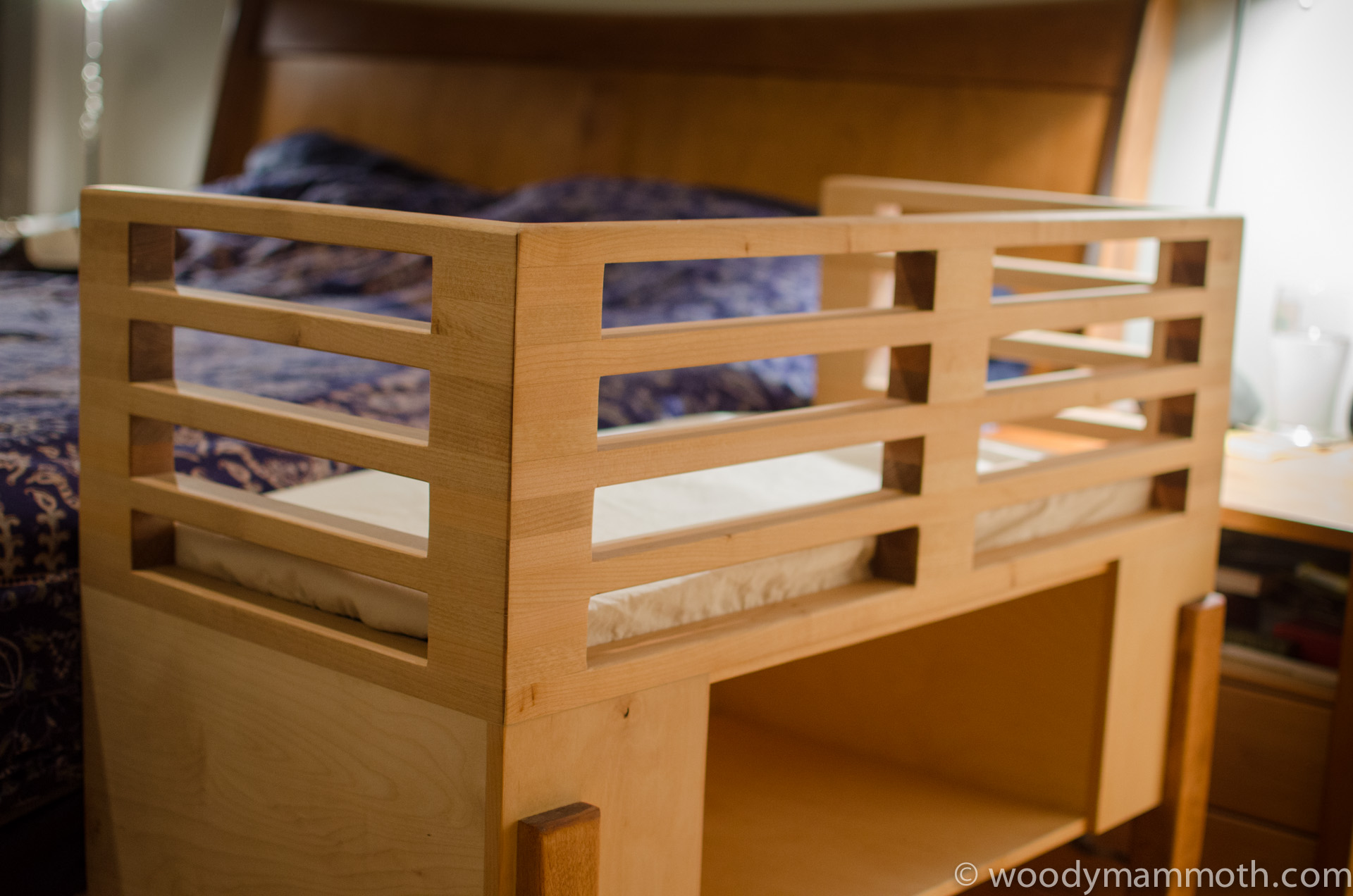 Storage side of attached bed